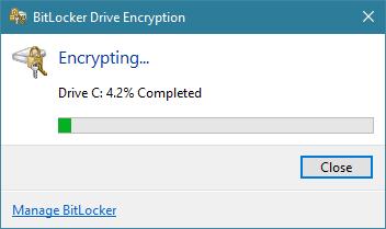 El progreso del cifrado de BitLocker para la partición del sistema