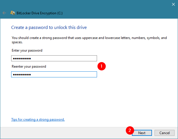 Creating a password for BitLocker on a PC without a TPM chip