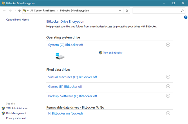 The BitLocker Drive Encryption window from Control Panel