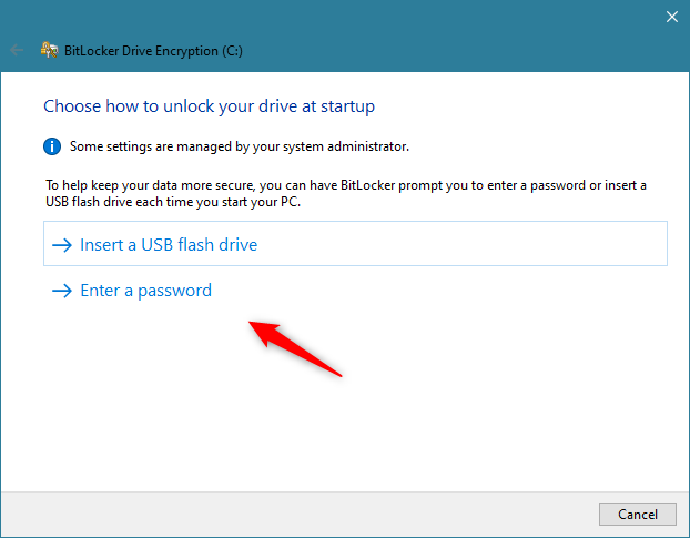 If the PC has no TPM chip, BitLocker requires a USB flash drive or a password