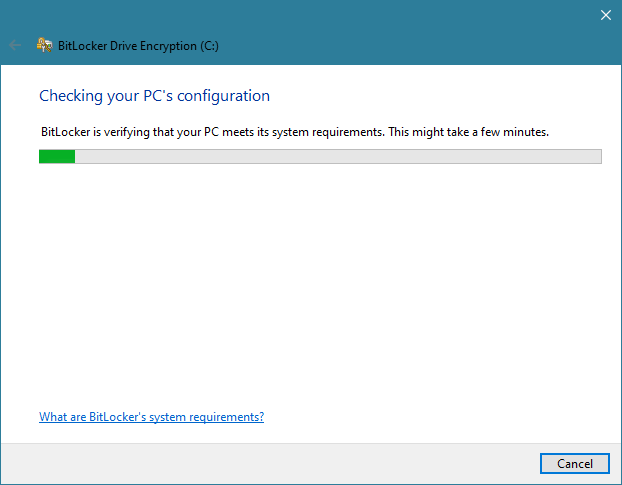 BitLocker is checking the configuration of the PC