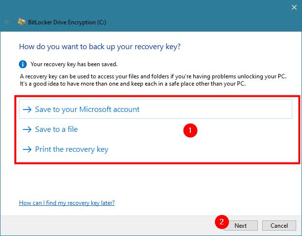 Saving the BitLocker recovery key