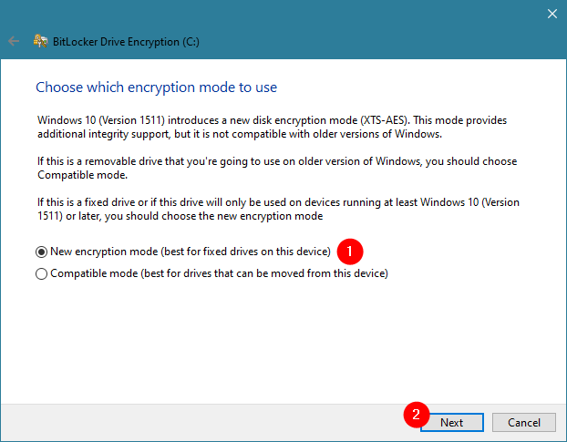 Choosing the encryption mode for BitLocker