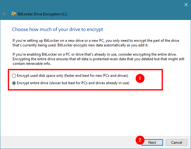 Choosing how to encrypt a drive with BitLocker