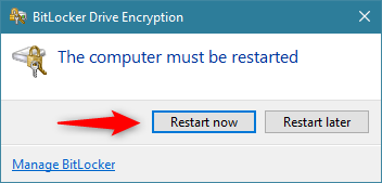 BitLocker needs to restart the computer