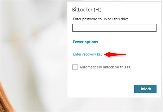 The Enter recovery key option from BitLocker's popup