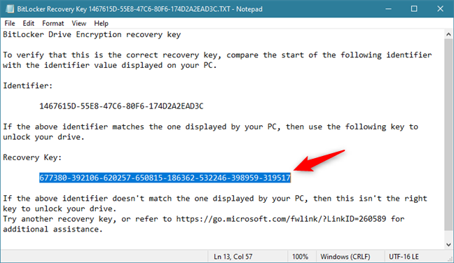The BitLocker recovery key saved in a file