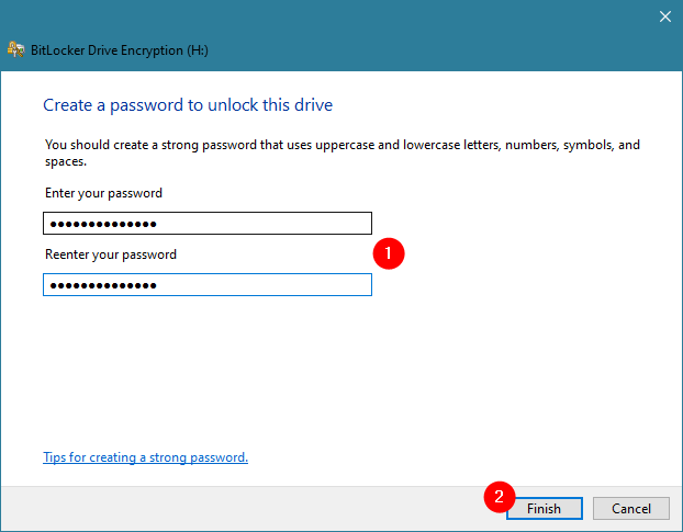 Creating a new BitLocker password for the USB drive