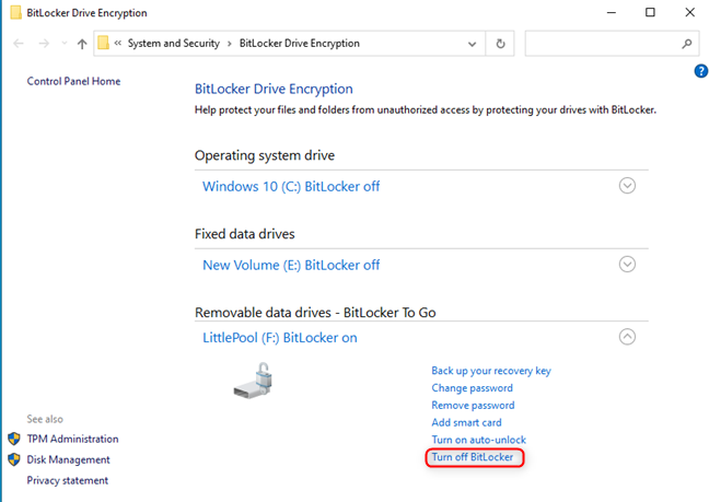 Click or tap on Turn off BitLocker