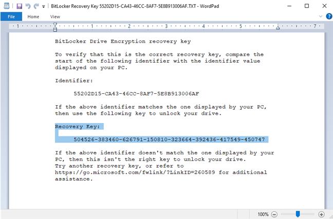 The BitLocker Recovery Key