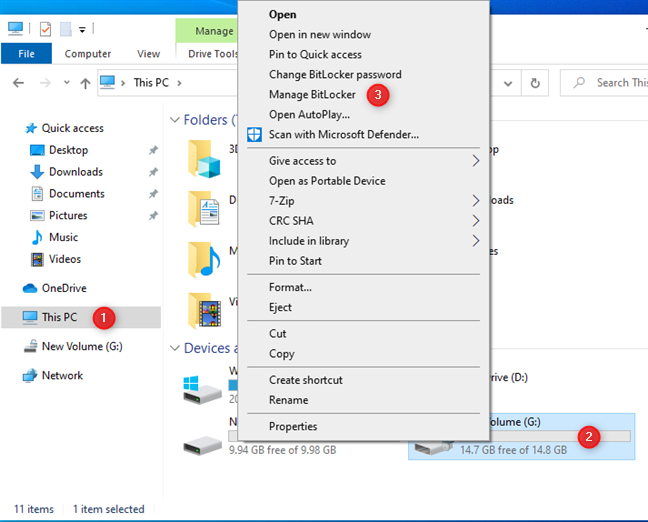 In the right-click menu, go to Manage BitLocker