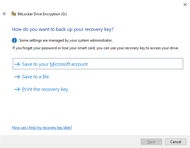 The options for saving your BitLocker recovery key