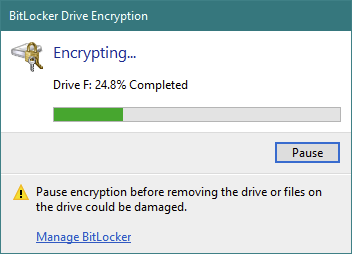 The USB drive is encrypted by BitLocker To Go