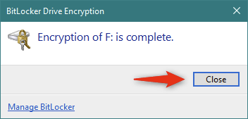 BitLocker finished encrypting the removable drive