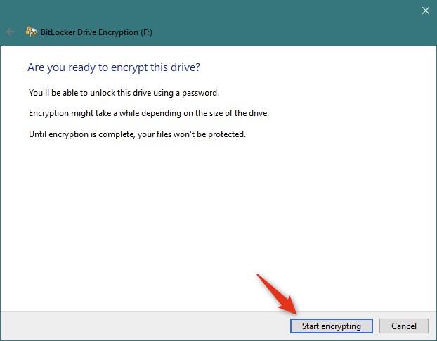 Starting the encryption of the removable USB drive