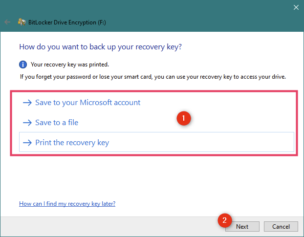 Options for backing up the recovery key for the BitLocker encrypted USB drive