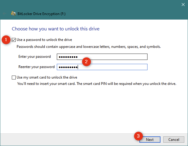 Choosing to use a password for unlocking the USB drive encrypted with BitLocker