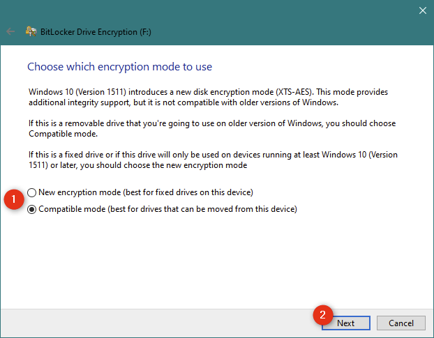 Choosing between BitLocker's new encryption mode and the compatible mode