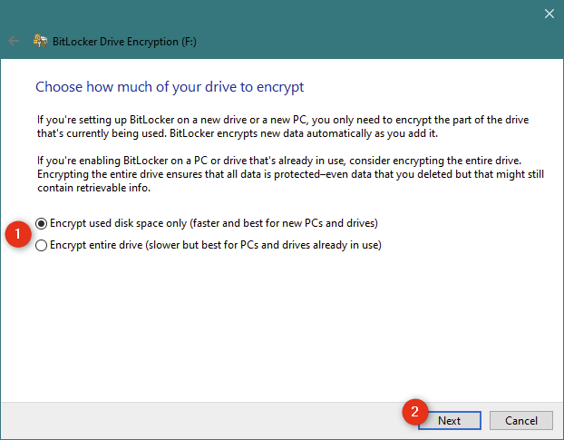 Choosing to encrypt used disk space only or the entire USB drive