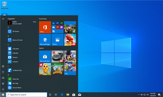 The Windows 10 bloatware also shows up on the Start Menu