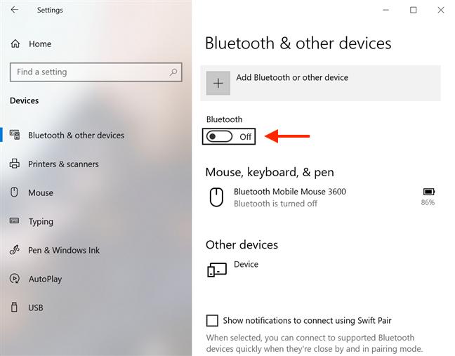 Presione la barra espaciadora para habilitar Bluetooth una vez que lo alcance