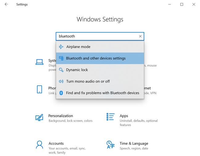 Acceder a la configuración de Bluetooth y otros dispositivos