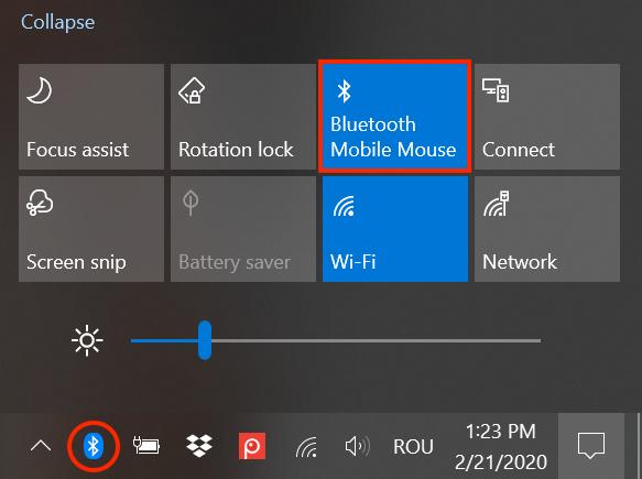 El botón Bluetooth está activo y se muestra un icono