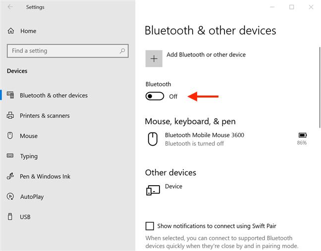 Presione el interruptor de Bluetooth
