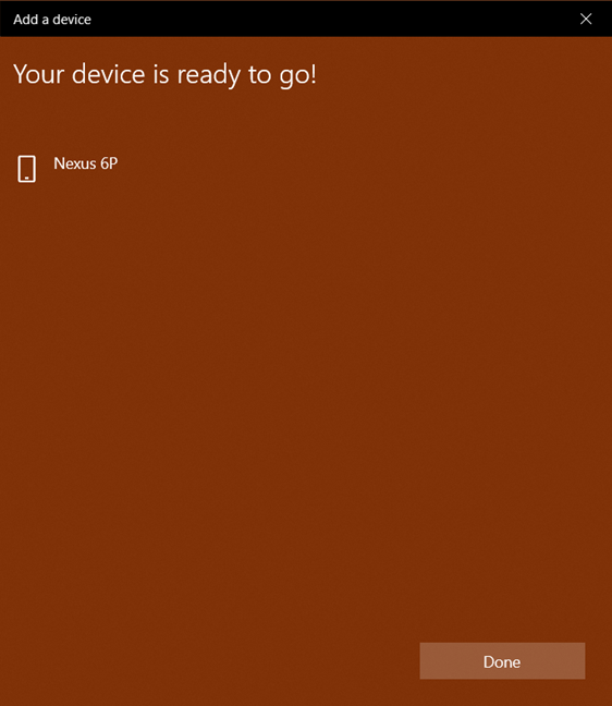 The Bluetooth device is set up in Windows 10