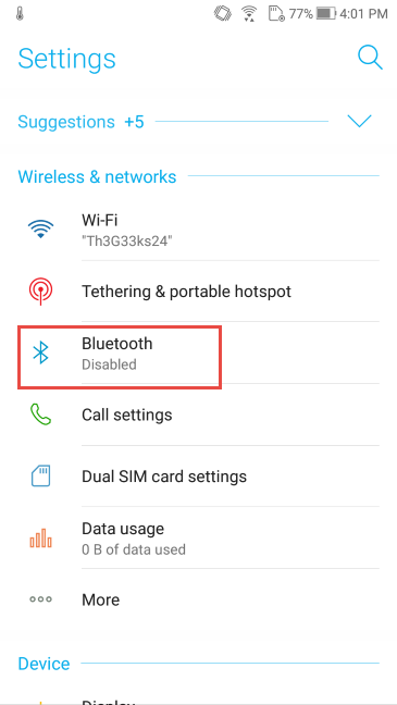 Android, Bluetooth, On, Off