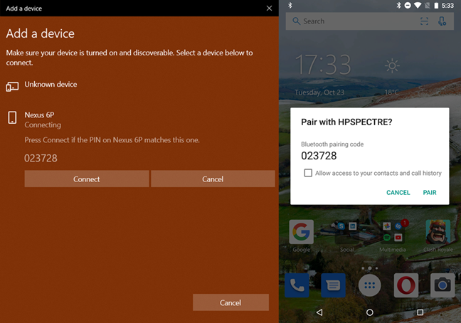 Pairing Windows 10 and Android devices through Bluetooth