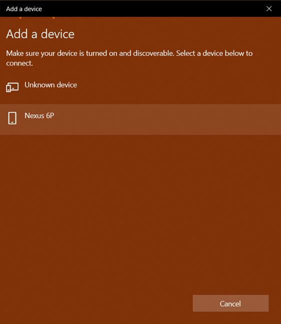 Adding a Bluetooth device in Windows 10