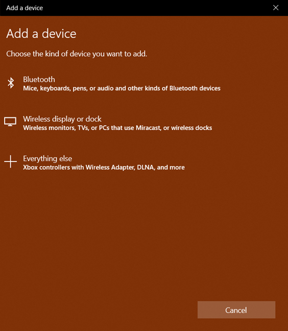 The Add a Device wizard in Windows 10