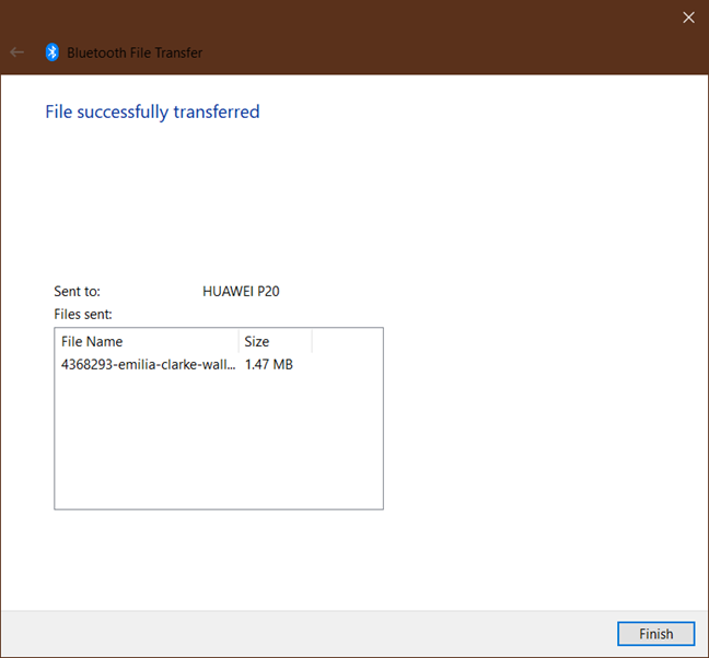 The Bluetooth File Transfer wizard from Windows 10