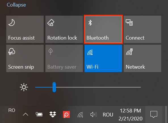 Presione el botón de Bluetooth de Acciones rápidas