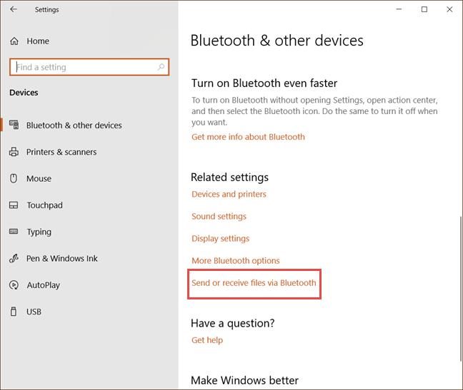 Send or receive files via Bluetooth in Windows 10
