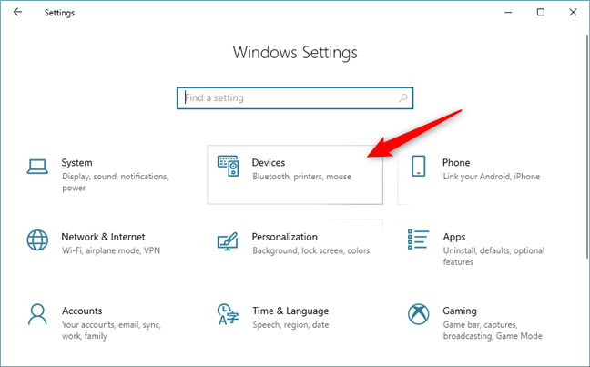 The Devices category from the Windows 10 Settings