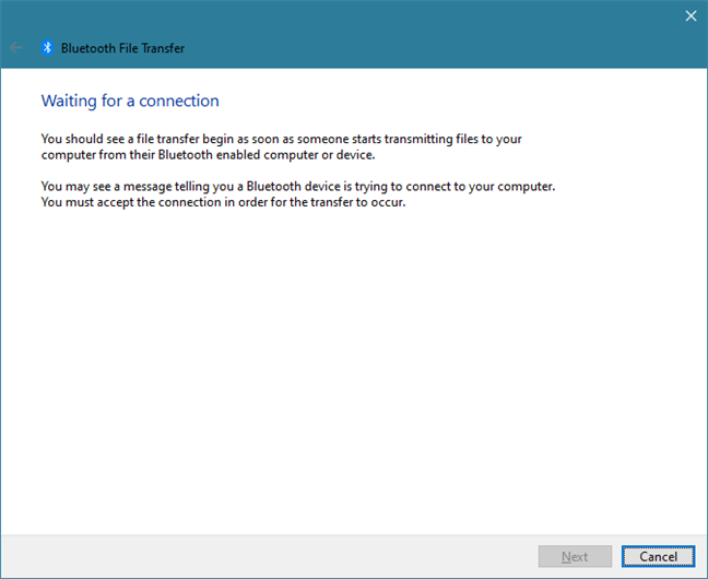 Windows 10 waiting for a Bluetooth connection