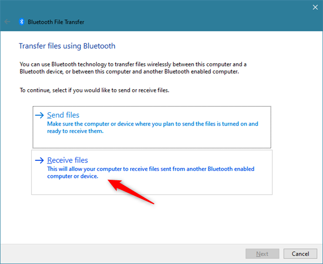 Choosing to Receive files over Bluetooth