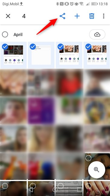 Using Google Photos in Android to select and share some photos