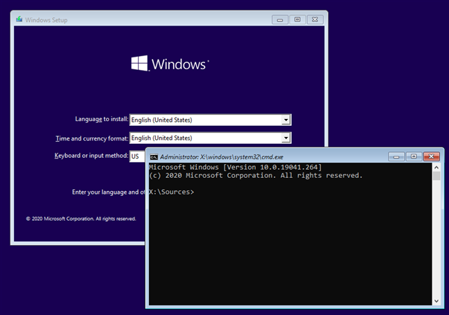 The Shift + F10 keyboard shortcut for opening Command Prompt on boot