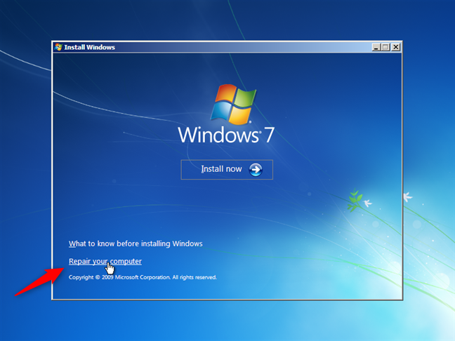 Repare su computadora en Windows 7