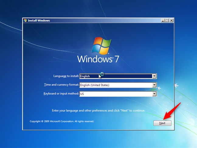 El asistente de instalación de Windows 7
