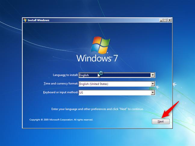The Windows 7 installation wizard