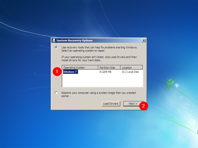 System Recovery Options in Windows 7