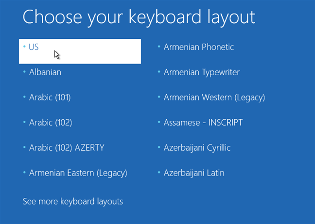 Choosing a keyboard layout