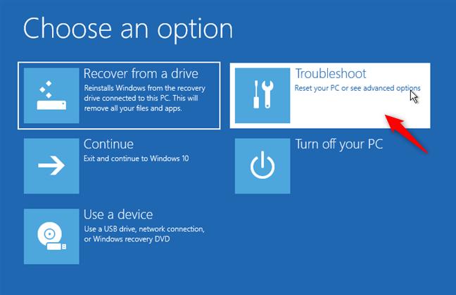 The Troubleshoot option