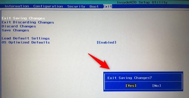 Saving the settings in BIOS/UEFI
