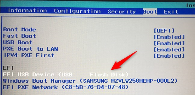 Moving the USB flash drive to the top of the boot order list