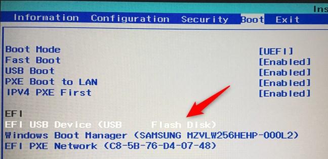 Déplacement de la clé USB vers le haut de la liste d'ordre de démarrage